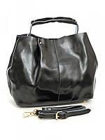 Большая женская кожаная сумка черная 10638