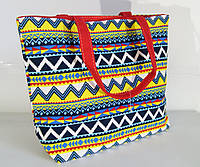 Пляжная сумка хлопковая с  орнаментом