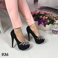 Туфли женские на каблуке черные 936