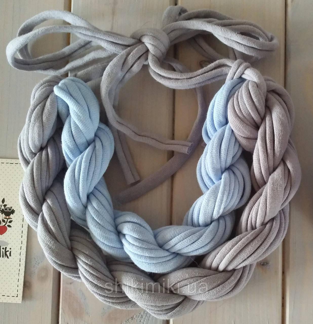 Колье женское вязаное из трикотажной пряжи Алиса