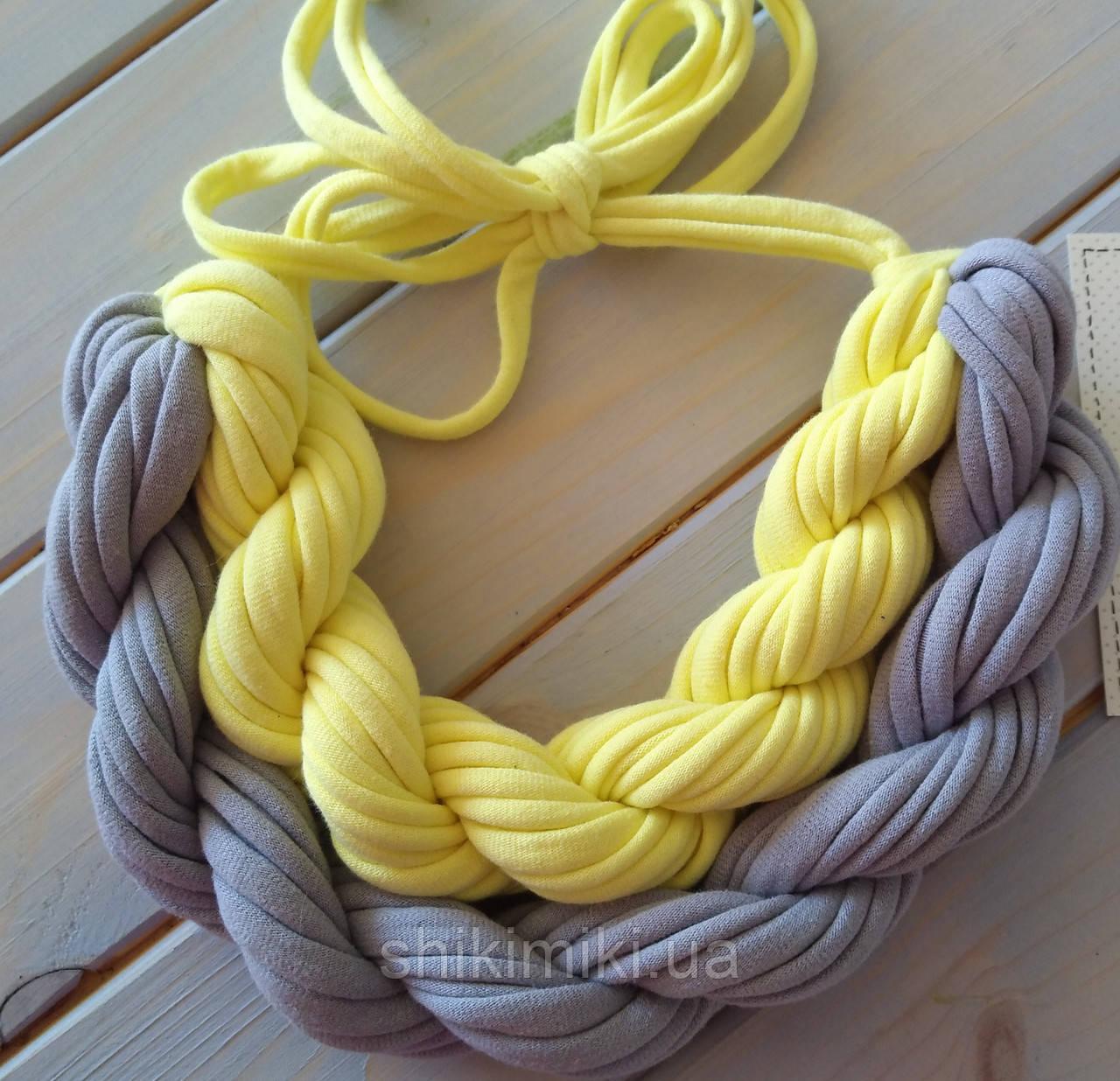 Колье женское вязаное из трикотажной пряжи Мирелла