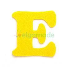 Літера з фетру Е, ЛИМОННА, 62х62 мм, 2 мм