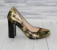 Стильные золотистые туфли лодочки.  Натуральная кожа. 1099