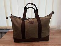 Стильная дорожная сумка из ткани. Хаки.