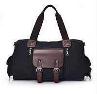 Дорожно-спортивная сумка из ткани. Черная