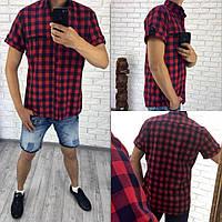 Рубашка мужская короткий рукав Ткань Турция : рубашка Рисунок : клетка темно синий-красный роле №1091