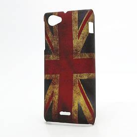 "Чехол пластиковый на Sony Xperia J ST26i ""Ретро флаг Англии"""