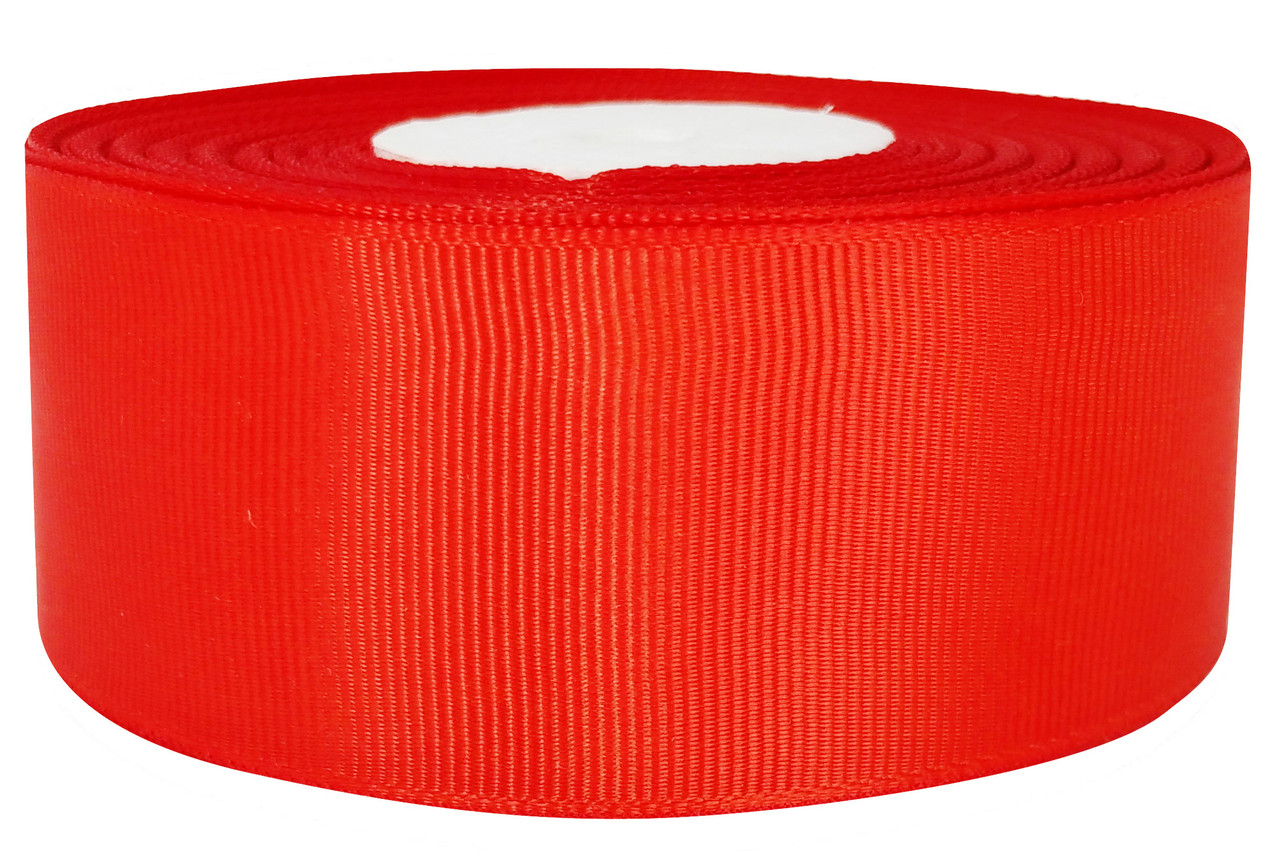 Репсовая лента красная 4 см х 25 ярдов