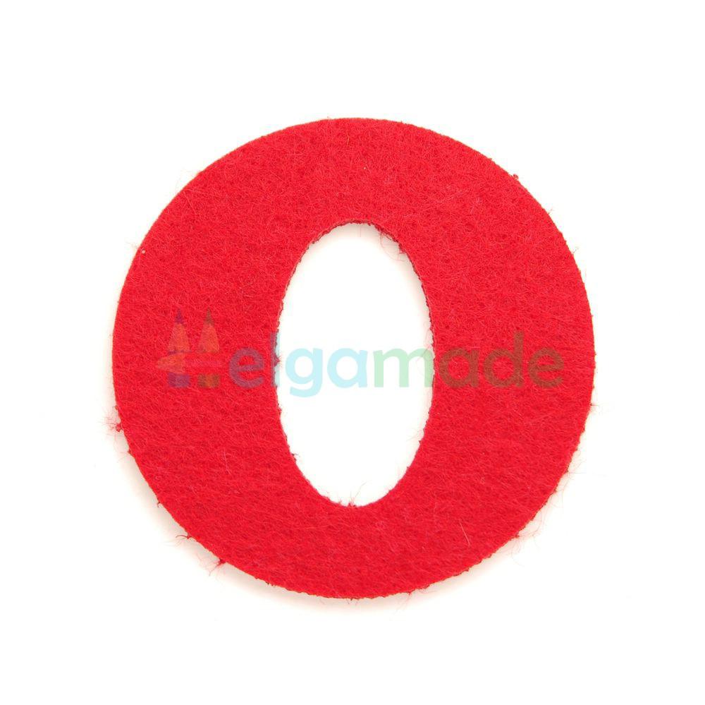 Буква из фетра О, КРАСНАЯ, 64х64 мм, 2 мм