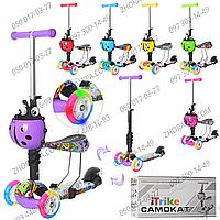 Самокат-беговел iTrike JR 3-054-C Maxi, 3 в 1, граффити принт, 6 цветов, сталь+пластик, 3 колеса ПУ, светятся