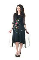 Платье черное шифоновое с цветами, фото 1