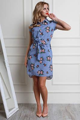 Платье из рубашечной ткани с цветочным принтом