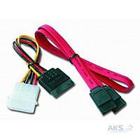 Кабель (шлейф) Cablexpert SATA 0.5 m + power 0.15m (CC-SATA)
