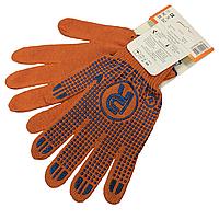 Перчатки рабочие PROTECT (размер 10) трикотажные с ПВХ точкой, оранжевые, фото 1