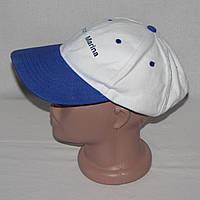 Бейсболка, кепка летняя белого цвета с синим козырьком
