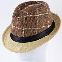 Шляпа двухцветная  рисовая соломка  тулья в клетку