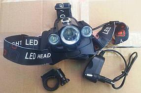 Фонарь налобный 1825A (3 LED) + велокрепление