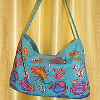 Сумка пляжная Anne Ormsby летняя голубая с вышивкой 35 х 23 см