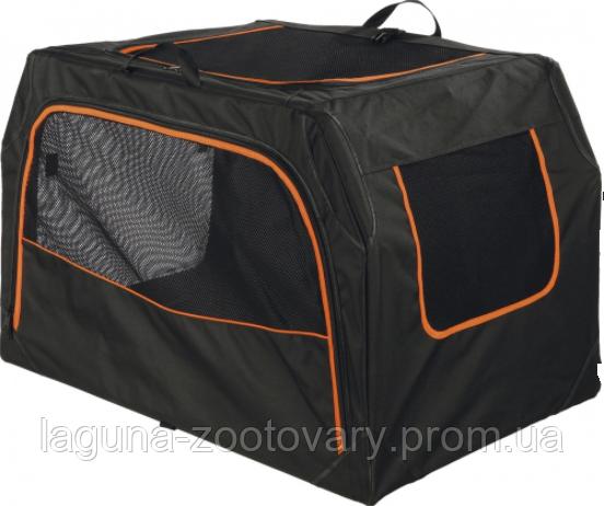 Складная палатка - переноска 84х54х55см, c расширением  для собак и кошек, черная/оранжевая