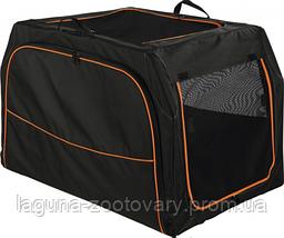 Складная палатка - переноска 84х54х55см, c расширением  для собак и кошек, черная/оранжевая, фото 2