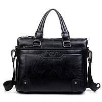 Сумка Polo мужская кожаная для документов. Чоловіча сумка через плечо Поло | Черная
