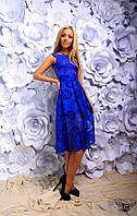 Платье миди с открытыми плечами с верхом из гипюра электрик