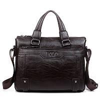 Сумка Polo мужская кожаная для документов. Чоловіча сумка через плечо Поло | Темно-коричневая