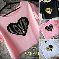Модная летняя свободная трикотажная футболка топ с двойными пайетками белая чёрная розовая