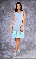 Женское трикотажное  платье-майка средней длины с оборками (голубое)