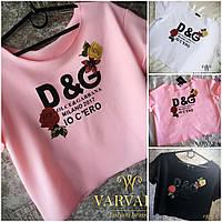 Модная летняя свободная трикотажная футболка топ D&G розы 2017 белая чёрная розова