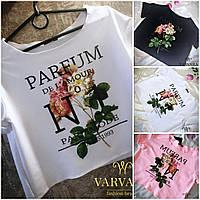 Модная летняя свободная трикотажная футболка топ Parfum розы цветы 2017 белая чёрная розовая