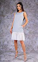 Женское трикотажное  платье-майка средней длины с оборками (белое)