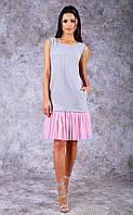 Женское трикотажное  платье-майка средней длины с оборками (розовое)