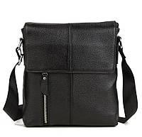 Стильная повседневная мужская кожаная сумка черная