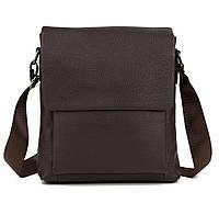 Стильная мужская кожаная сумка с клапаном коричневая