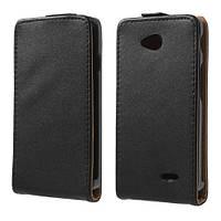 Чехол флип на LG L70 Dual D325, D320, черная кожа