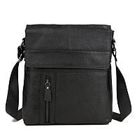Изысканная мужская кожаная сумка черного цвета