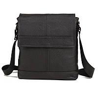 Практичная мужская кожаная сумка с клапаном черная