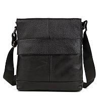 Изящная мужская кожаная сумка с клапаном черная
