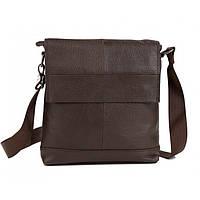 Изящная мужская кожаная сумка с клапаном коричневая
