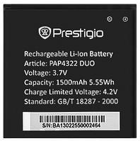 Аккумулятор Prestigio PAP4322 DUO 1500 mAh Original /АКБ/Батарея/Батарейка/Престиж/Престижио/Престиджио
