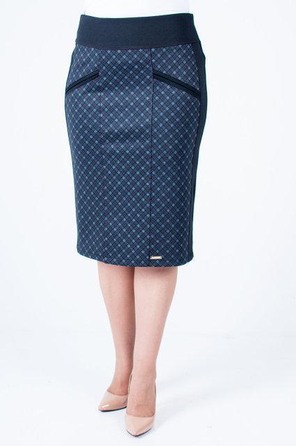 Качественная юбка в клетку увеличенных размеров за колено