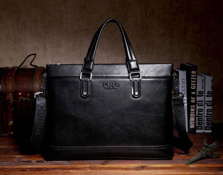 Сумка мужская Polo Business кожаная для документов через плечо. Чоловіча сумка Поло | Черная, фото 3