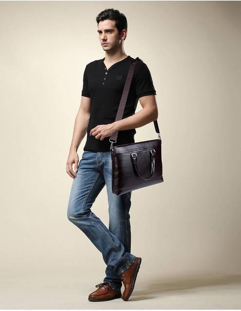 Сумка мужская Polo Business кожаная для документов через плечо. Чоловіча сумка Поло | Черная, фото 6