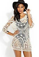 Пляжное платье с крупным кружевом А414