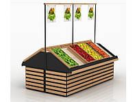 Стеллаж овощной с деревянными накладками