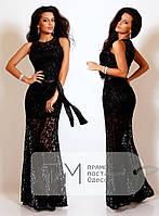 Черное гипюровое платье DM-1700