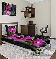 "Фото покрывало ""Орхидеи и капли"" (1,5м*1,1м)"