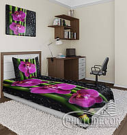 "Фото покрывало ""Орхидеи и капли"" (2,0м*1,5м)"