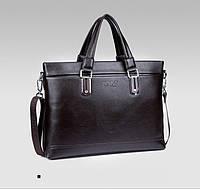Сумка мужская Polo Business кожаная для документов через плечо. Чоловіча сумка Поло | Темно-коричневая